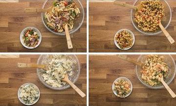 Τέσσερις σαλάτες με ζυμαρικά για να διαλέξετε (vid)