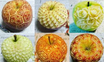 Εντυπωσιακό! Μετατρέπει φρούτα και λαχανικά σε υπέροχα… γλυπτά (pics)