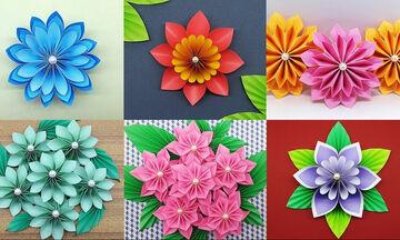 Λουλούδια από χαρτί - 6 διαφορετικές ιδέες για να τα φτιάξετε (vid)